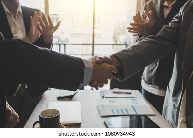 Business people shaking hands. Congratulations and success of the business.