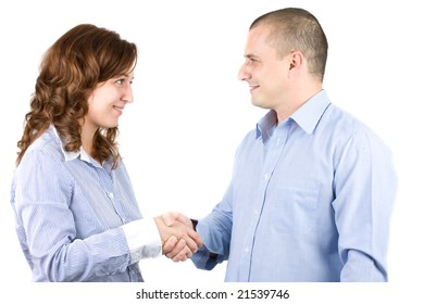 business people shaking hands, isolated on white