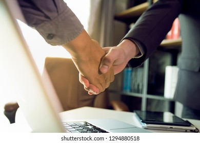 business people shaking hands, success business of Logistics,
