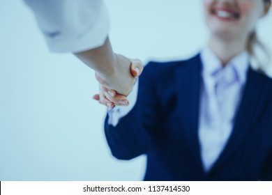 Business people shaking hands together. Business executives ideas to congratulate the success deal contract
