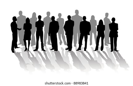 Business people silhouette over white background