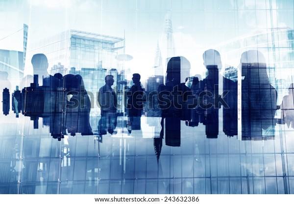 Business People Silhouette Zusammenarbeit Organisation Verbindung