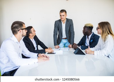 business people sitting and meeting and discussion in meeting room and office staff leader presenting