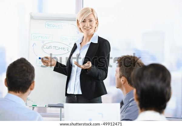 Geschäftsleute, die bei der Präsentation im Büro sitzen. Geschäftsfrau, die sich auf der Whiteboard präsentiert.