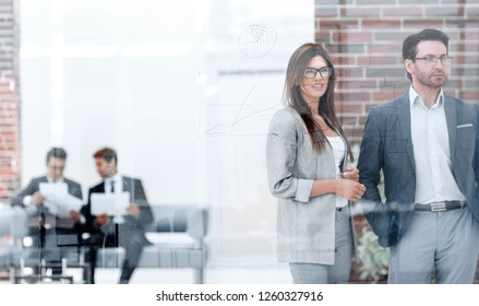 business people standing in the Bank office