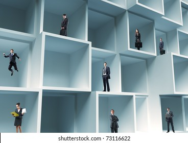 business people standing in cube 3d structure