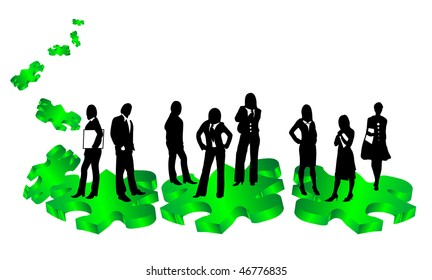 Business people standing on puzzles