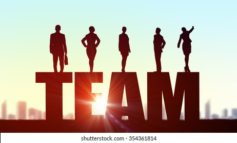 Business people standing on word team representing collaboration concept