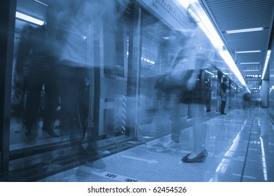 business people in subway Abstract