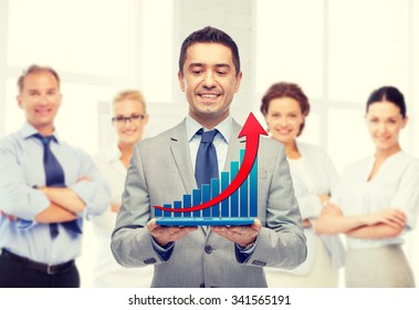 business, people, success and technology concept - happy smiling businessman in suit holding tablet pc computer with virtual graph over group of people and office room background