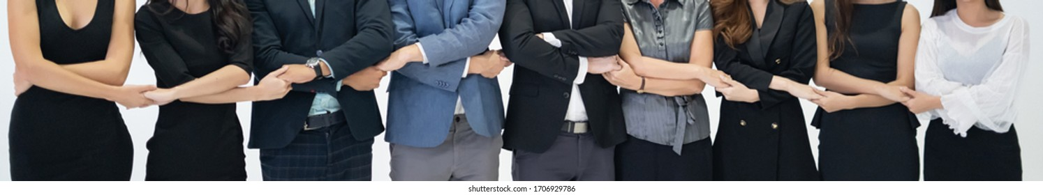 Business people success trust confidence teamwork with partnership