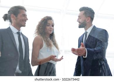business people talking in office.