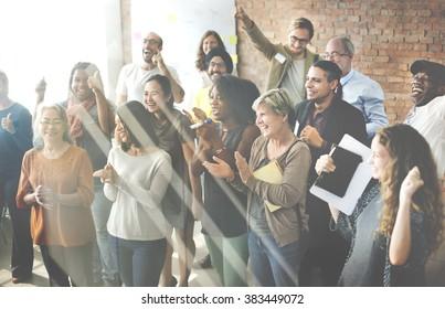 Business People Team Applauding Achievement Concept