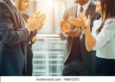 Business People Team Applauding in office Achievement Concept