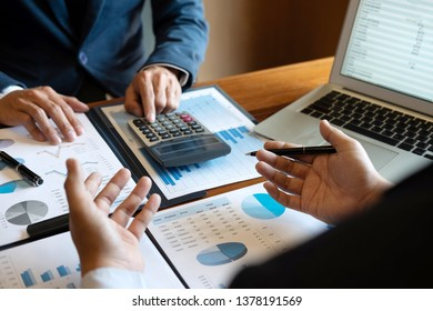 Business people team discuss on meeting to planning investment project working and strategy of business making conversation with partner, financial and accounting concept.