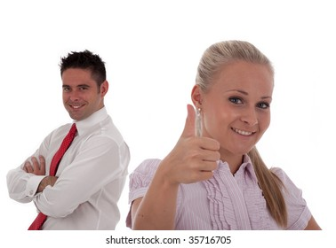 Business people and team. Isolated over white background
