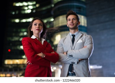 Business people team at night