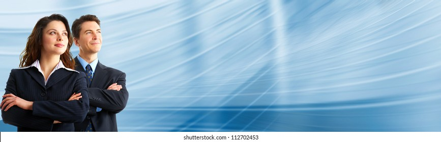 Business people team over blue abstract background.