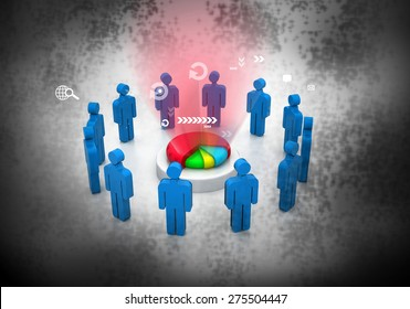 Business people team with pie chart background