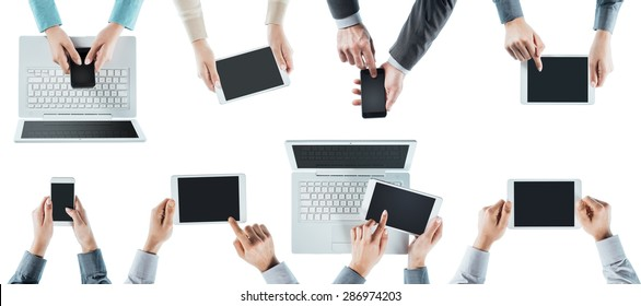 Business people team social networking, using computers, tablets and smartphones, top view, white background