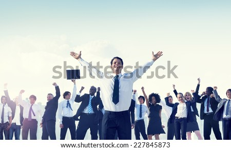 Business People Team Success Celebration Concept