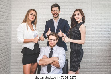 Business People Teamwork Showing Thumbs Up for Successful Colleague - Business Concept