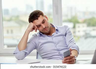 business, people and technology concept - businessman with smartphone