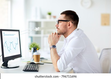 business, people and technology concept - businessman in glasses sitting at office with charts on computer screen and thinking
