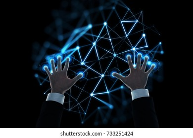 business, people and technology concept - close up of businessman hands working with virtual low poly hologram over black background
