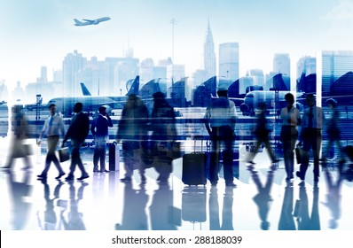 Business People Travel Departure Airport Passenger Terminal Concept