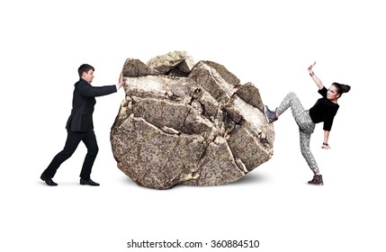 Business people try to move the big stone