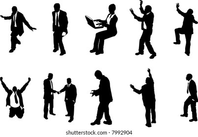 business people unusual silhouettes A series of business people mostly in more unusual poses, climbing, balancing etc. Great for use in conceptual pieces. Raster version