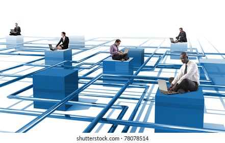 business people use laptop on 3d abstract web