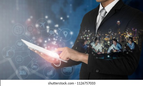 Business people use network technology to communicate with Internet of things (IOT) word and objects icon connecting together, Internet networking concept, Connect global.
