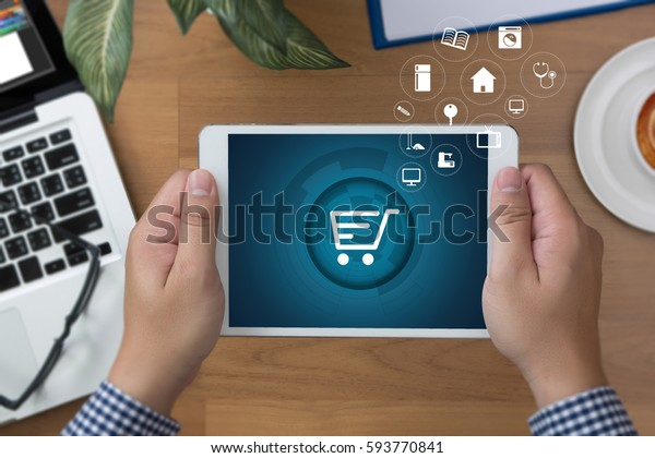 Business people use Technology E-commerce Internet Global Marketing Purchasing Plan and Bank Concept