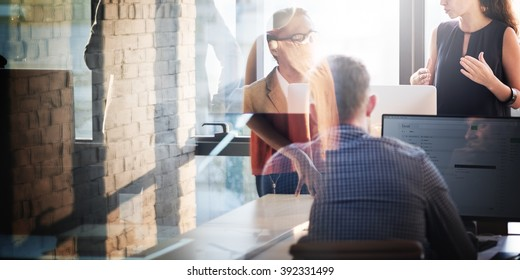 Business People Using Computer Correspondence Concept