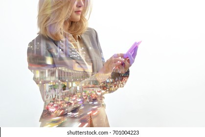 Business people using smartphone on double exposure background with business pattern