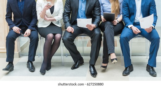 Business people waiting for job interview in modern office
