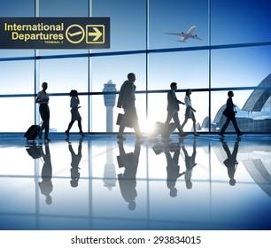 Business People Walking Airport Business Trip Travel Destination