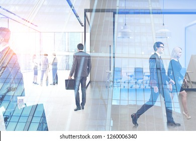 Business people walking and communicating in office lobby with meeting room. Double exposure of skyscraper. Toned image