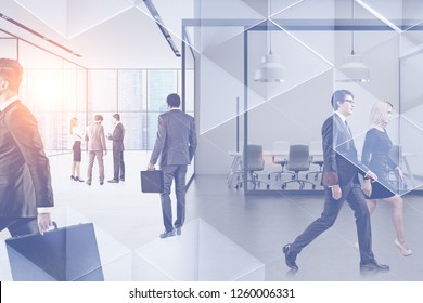 Business people walking and communicating in panoramic office lobby with meeting room. Double exposure toned image