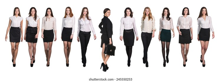 Business people walking. Leader in the middle. Isolated over a white background
