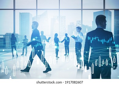 Business people are walking in a modern office with panoramic windows. Cityscape downtown background. Concept of a business life. Toned image double exposure