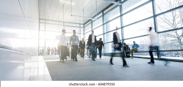 Business People Walking on a modern walkway