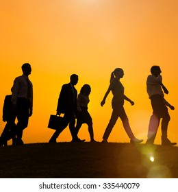 Business People Walking Travel Corporate Commuter Concept