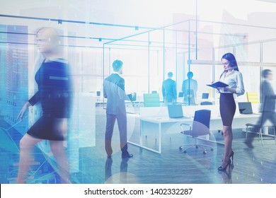 Business people walking and working together in modern company office with double exposure of network hologram. Concept of technology in business. Toned image double exposure blurred