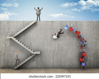 business people and wall challenge