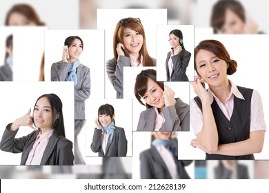 Business people wall with woman talk on phone. Concept about communication, social media, network etc.