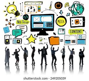 Business People Web Design Teamwork Celebration Concept