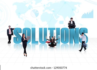 Business people with the word solutions on world map background